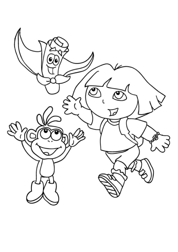 Dora-Boots-And-Map-Dora-The-Explorer-Coloring-Page