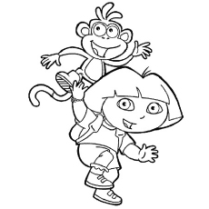 Dora-With-Boots-and-monkey
