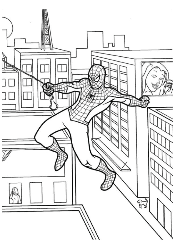 Spiderman-Swinging-from-One-Building