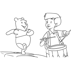 Boy Playing Drums and Winnie Following
