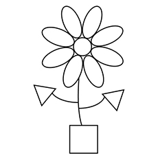 Shapes of Flower and Pot Coloring Pages
