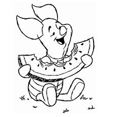 Piglet Eating Watermelon Coloring Sheet