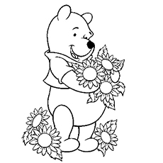 Printable Coloring Pages of Pooh Loves Collecting Flowers