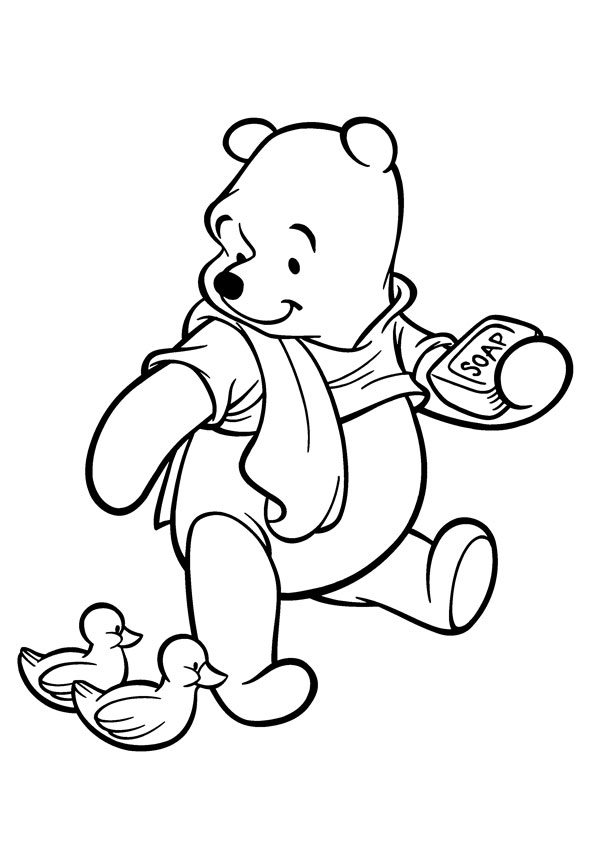 The-Pooh-Watching-the-Ducklings-coloring-page
