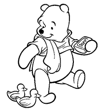 Pooh Watching the Duck and Holding a Soap in Hand Coloring Page