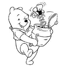 Coloring pages of Winnie the Pooh with Honey Bee Toy