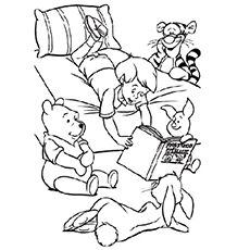 Story Reading Session with Christopher Robin and Winnie friends Coloring Page