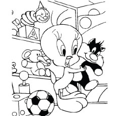 Tweety with Stuffed Sylvester Coloring Sheet