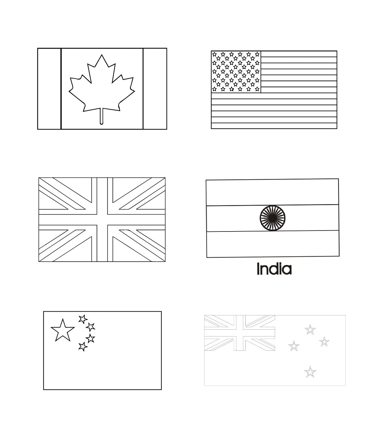Australian Flag Picture To Colour In - About Flag Collections | 1350x1200
