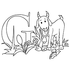 Cute Goat Coloring Flower Coloring Pages