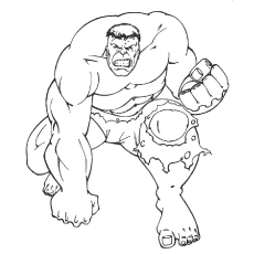 Printable Strong Punch From Hulk to Color