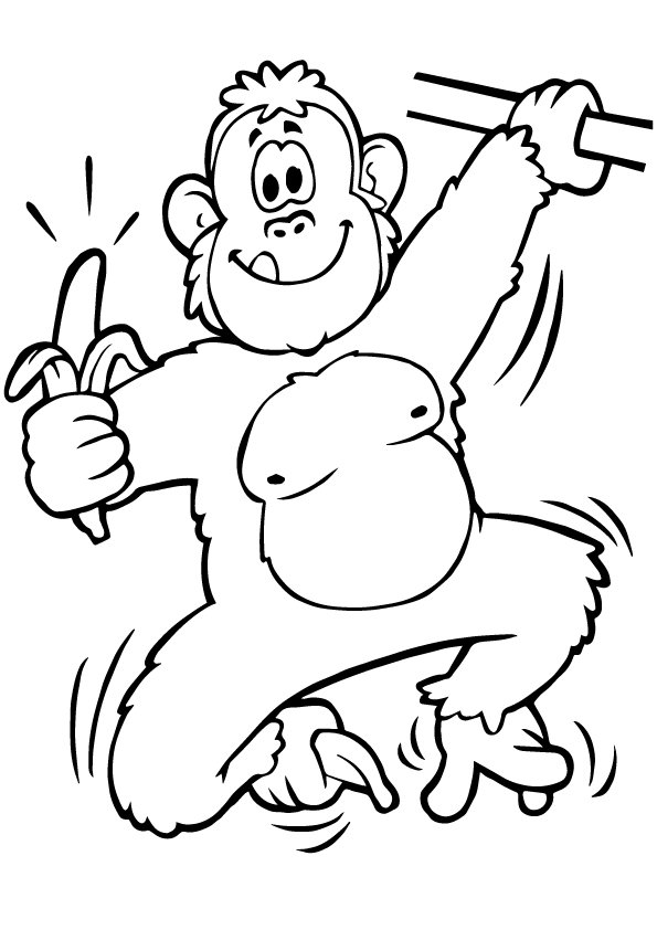 Ape-Eating-Banana-Coloring-Pages-Printable
