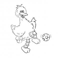 Big Bird Playing Football