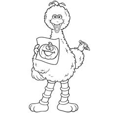 Big-Bird-with-crayon-and-pumpkin-drawing