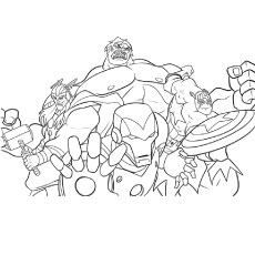 Printable Coloring Page of Team Avengers