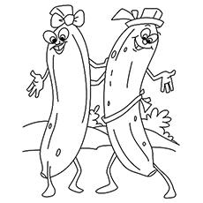 Two Funny Dancing Bananas Coloring Sheet