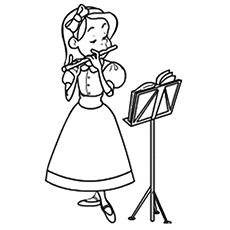 Girl Playing Flute Colouring Pages