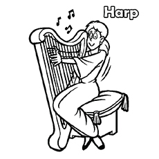 Coloring Pages Instrument Of The Gods Harp Music