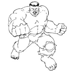 Hulk Showing His Muscles Color to Print