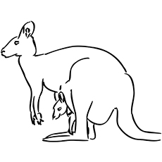 Stationery Kangaroo With Joey Coloring Pages