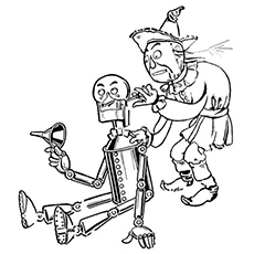 Coloring Page of Tinman Needs To Be Refueled