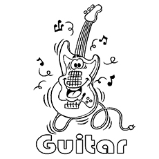 Acoustic Guitar Music Coloring Pages to Print