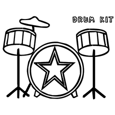 Music of Drum Kit Coloring Pages Free