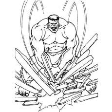 Hulk in Breaking Woods in Anger Coloring Sheet