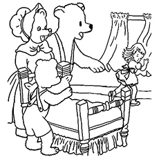 Bears Discover Goldilocks Picture Coloring Page