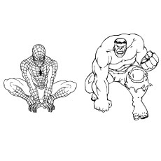 Coloring Page of Hulk and Spiderman in One Frame