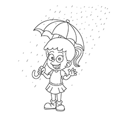 The Girl With An Umbrella coloring images