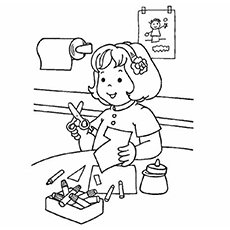 Coloring Pages of Girl Making Crafts for School Activities