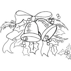 Coloring Page of Bells with Leaves