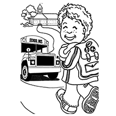 Little Johnny Goes Back to School Happily After Holidays Coloring Page