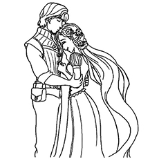 Rapunzel and Flynn Happy together Coloring Sheet to Print