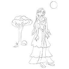 The rapunzel loves outdoors coloring pages