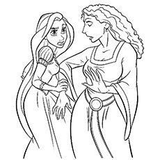 Rapunzel and The Witch Coloring Sheet Printable