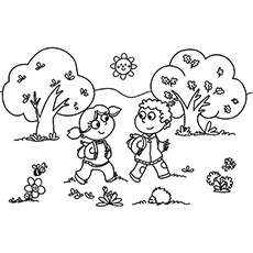 Printbale Coloring page of Two Cute Kids Walking to School