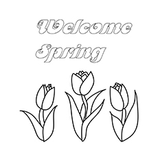 Welcome Spring Colouring Page
