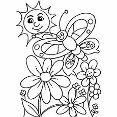 Spring Day Flowers Printable to Color