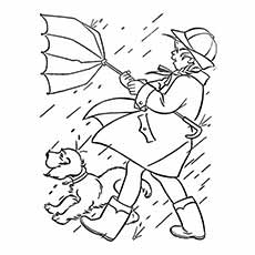Coloring Page of Girl Going out with her Pet During Spring Season