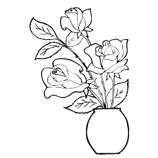 Three Roses in a Flower Pot Coloring Sheet