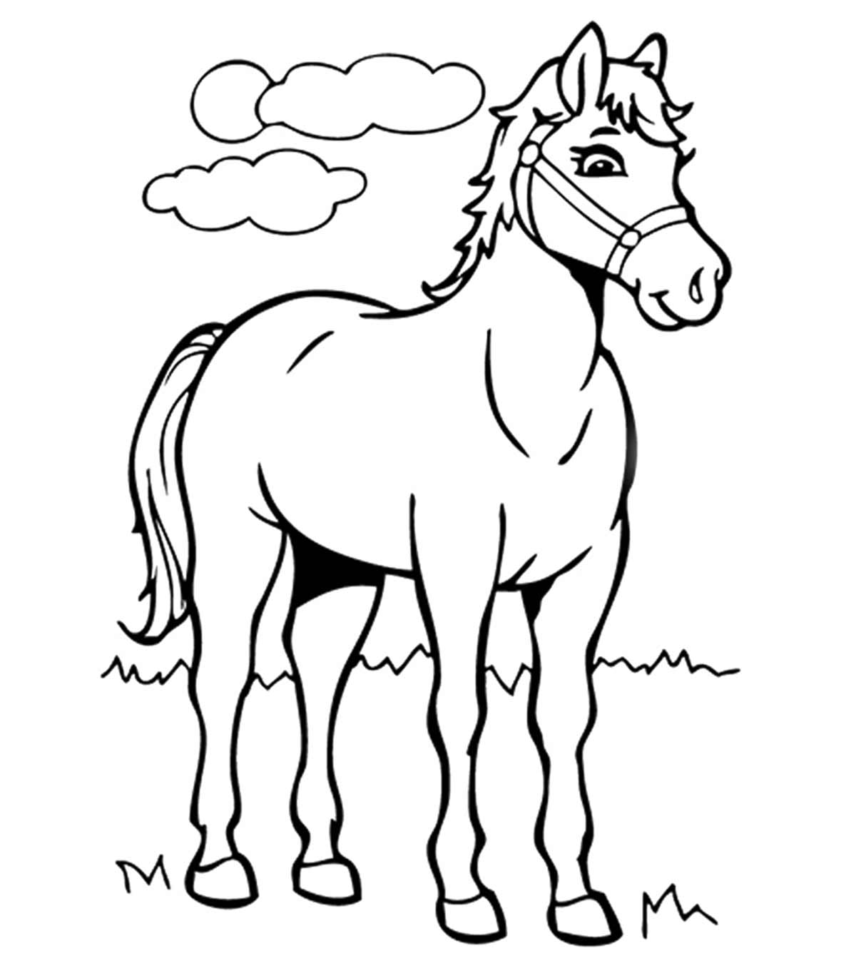 Horse free to color for kids : Horse head and mane - Horses Kids ... | 1350x1200