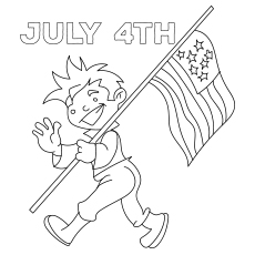 Kid Walking With The Flag On 4th July 317