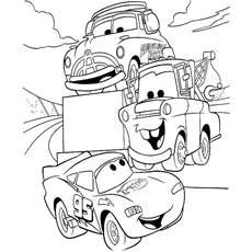 Lightning McQueen talking-with Friends Coloring Page to Print