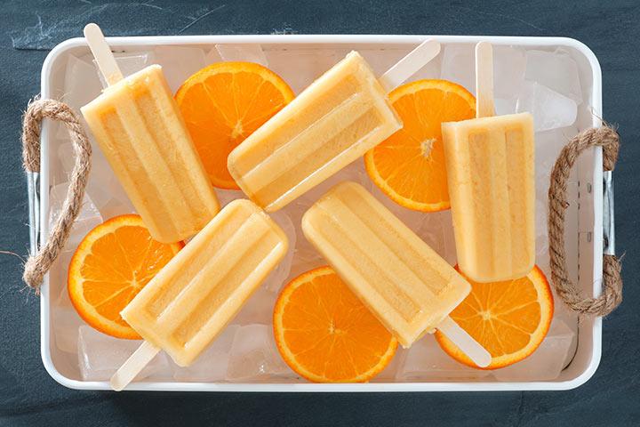 Orange yogurt pops