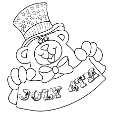 Patriotic Teddy Holding Banner-317