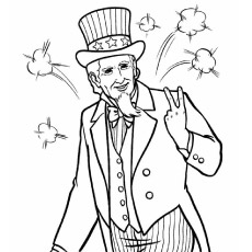 Coloring Picture of Uncle Sam on 4th July
