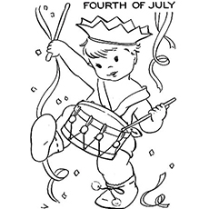Boy Playing The Drums on 4th July to Color Sheet