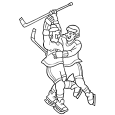 Players Celebrating Victory in Hockey Coloring Pages for Free